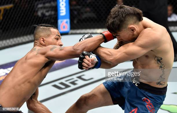Eric Shelton punches Alex Perez in their flyweight bout during the UFC Fight Night event at Amway Center on February 24 2018 in Orlando Florida