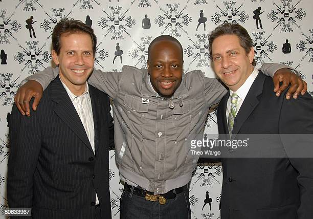 Eric Sherman Wyclef Jean and Allan Infeld at the Fuse Upfront Bash 08 at Espace in NYC on April 10 2008