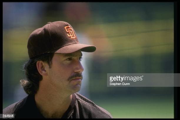 Eric Show of the San Diego Padres stands on the field during a game at Jack Murphy Stadium in San Diego California Mandatory Credit Stephen Dunn...