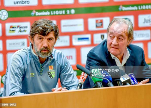 Eric Sikora a former defender at RC Lens football club speaks during a press conference as RC Lens president Gervais Martel listens on on August 21...