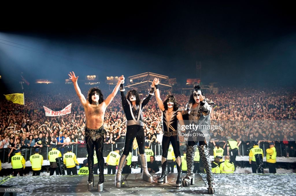 Eric Singer, Paul Stanley, Gene Simmons and Tommy Thayer of KISS live at the Download Festival, UK, 2008.