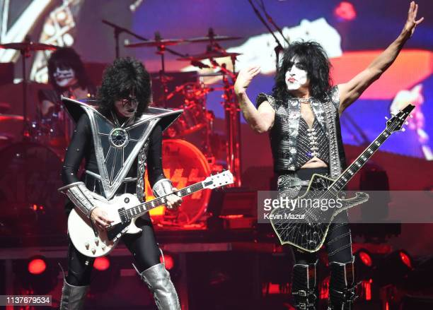 Eric Singer Tommy Thayer Paul Stanley of the band KISS perform on stage during KISS End Of The Road World Tour at Nassau Coliseum on March 22 2019 in...