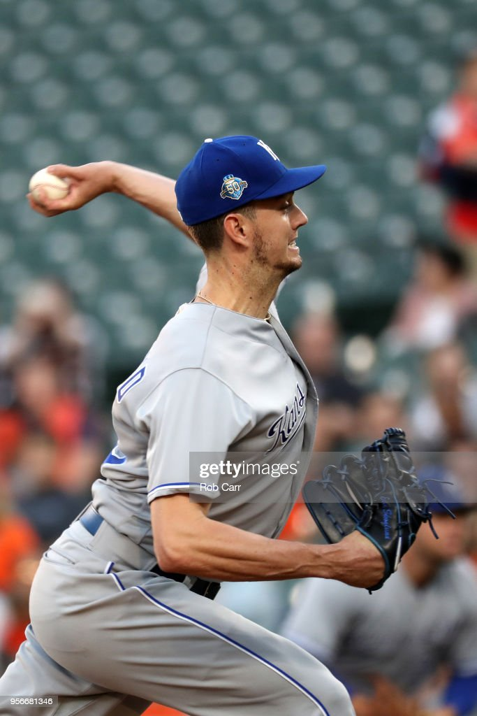 Eric Skoglund #53 of the Kansas City Royals pitches to a Baltimore Orioles batter in the first inning at Oriole Park at Camden Yards on May 9, 2018 in Baltimore, Maryland.