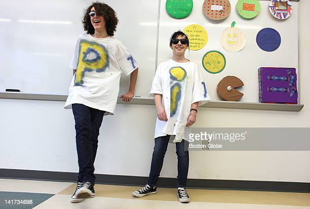 Eric Smith and Dominique Notarangelo perform their Pi City Hutch rap Hanover High School students participate in Pi Day activities on Wednesday March...