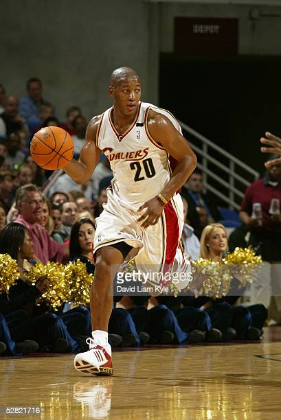 Eric Snow of the Cleveland Cavaliers drives against the Boston Celtics during the game at Gund Arena on April 19 2005 in Cleveland Ohio The Cavaliers...