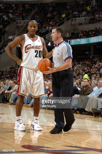 Eric Snow of the Cleveland Cavaliers talks to referee Tim Donaghy during the game against the Philadelphia 76ers on January 24, 2007 at Quicken Loans...