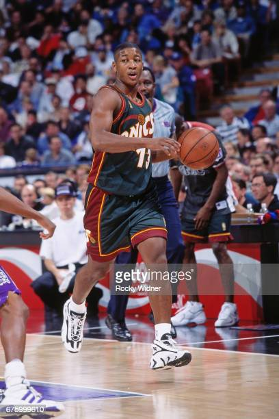 Eric Snow of the Seattle SuperSonics dribbles against the Sacramento Kings circa 1997 at Arco Arena in Sacramento California NOTE TO USER User...