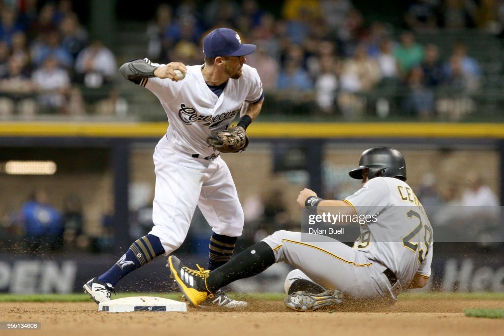 Eric Sogard #18 of the Milwaukee Brewers attempts to turn a double play past Francisco Cervelli #29 of the Pittsburgh Pirates in the seventh inning at Miller Park on May 5, 2018 in Milwaukee, Wisconsin.