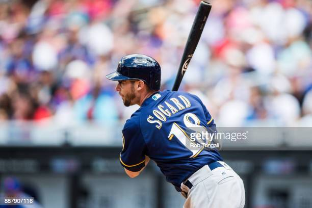 Eric Sogard of the Milwaukee Brewers bats during the game against the New York Mets at Citi Field on Thursday June 1 2017 in the Queens borough of...