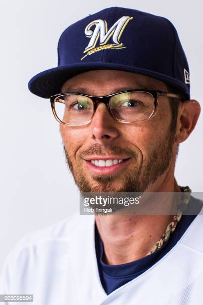 Eric Sogard of the Milwaukee Brewers poses for a portrait during Photo Day at the Milwaukee Brewers Spring Training Complex on February 22 2018 in...