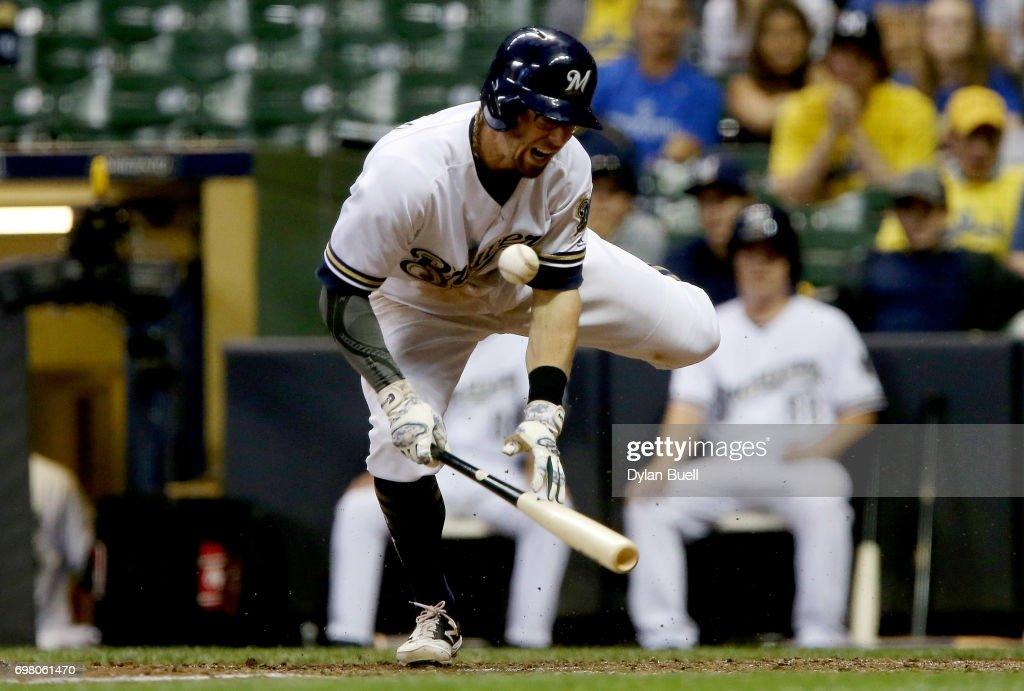 Eric Sogard #18 of the Milwaukee Brewers reacts after being hit by a pitch in the eighth inning against the Pittsburgh Pirates at Miller Park on June 19, 2017 in Milwaukee, Wisconsin.