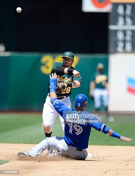 Eric Sogard of the Oakland Athletics gets his throw off to complete the double-play as Jose Bautista of the Toronto Blue Jays slides into second base...