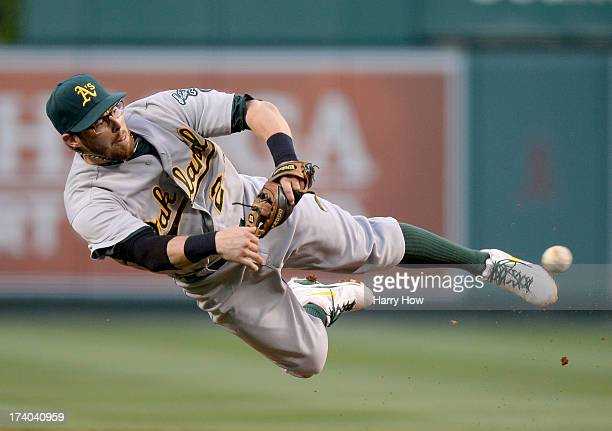 Eric Sogard of the Oakland Athletics makes a throw to first for an out of Chris Iannetta of the Los Angeles Angels to end the second inning at Angel...