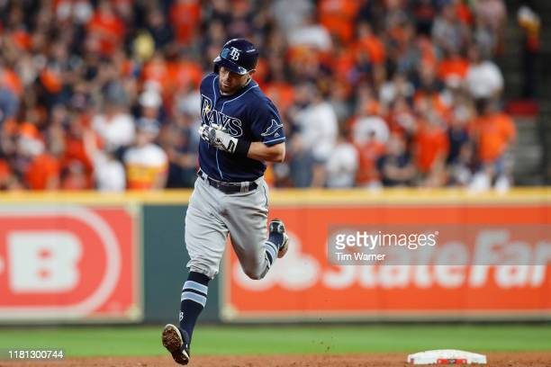 Eric Sogard of the Tampa Bay Rays runs the bases after a home run in the second inning against the Houston Astros during game five of the American...