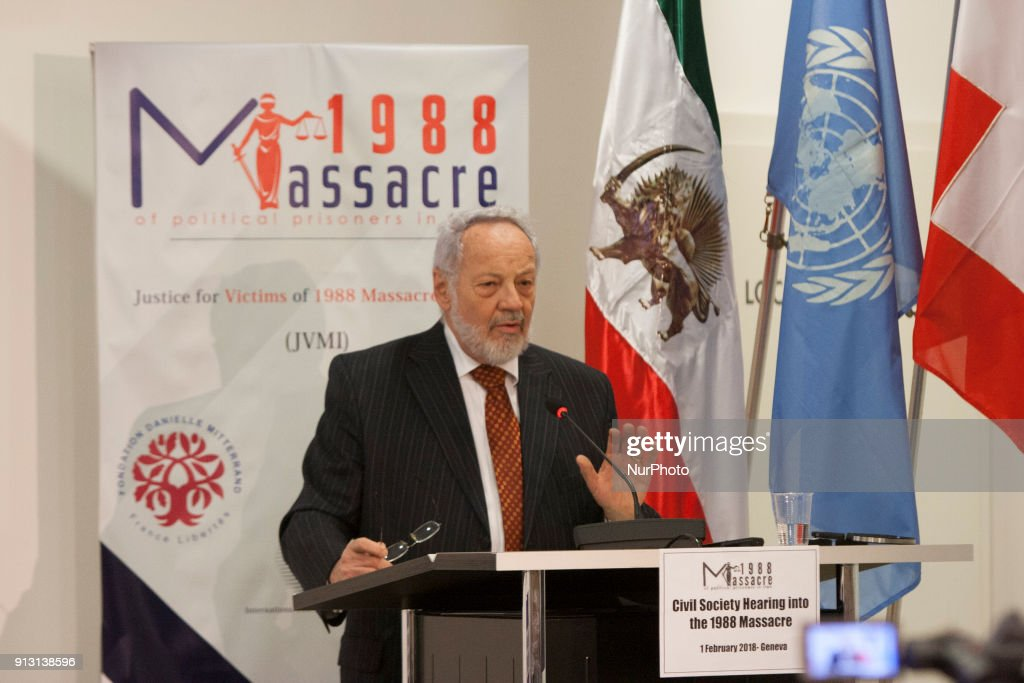 Eric Sottas, Geneva, Switzerland, - On 1 February 2018, at Geneva Press club, a civil society hearing in Geneva heard witnesses and legal experts and offered an adjudication of the 1988 massacre of political prisoners in Iran. Eric Sottas, former Secretary-General of the World Organization Against Torture (OMCT), the main international coalition of non-governmental organisations engaged in the fight against torture.