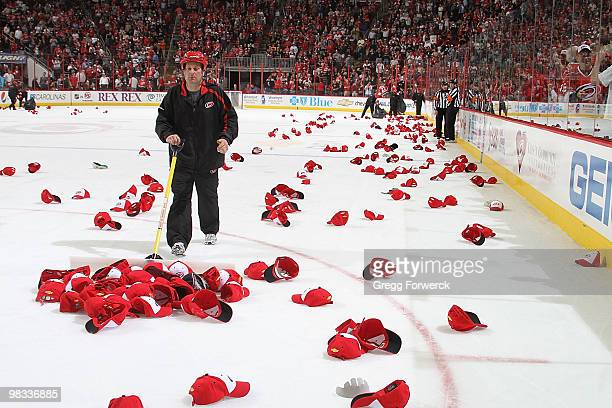 Eric Staal of the Carolina Hurricanes scores a hat trick on a free hat night during a NHL game against the Montreal Canadiens on April 8 2010 at RBC...