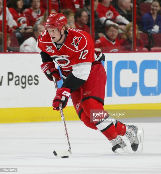 Eric Staal of the Carolina Hurricanes carries the puck during their NHL game against the Toronto Maple Leafs on January 31, 2008 at RBC Center in...