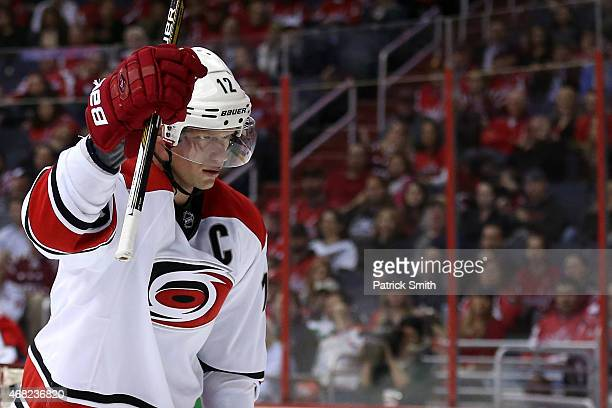 Eric Staal of the Carolina Hurricanes celebrates after scoring a goal in the second period against the Washington Capitals at Verizon Center on March...