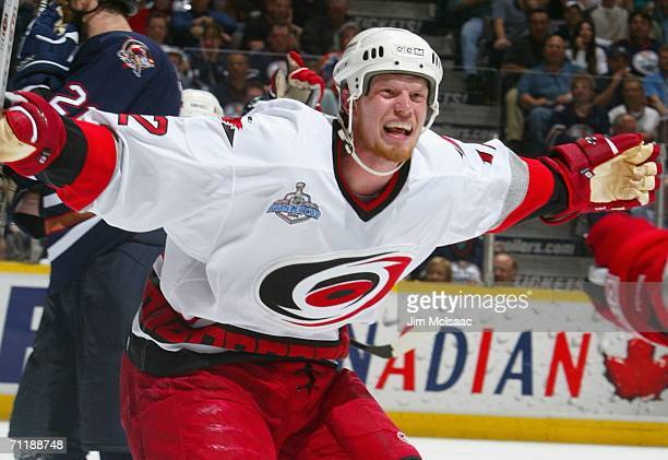 Eric Staal of the Carolina Hurricanes celebrates after scoring the go ahead goal against the Edmonton Oilers during the second period of game four of...