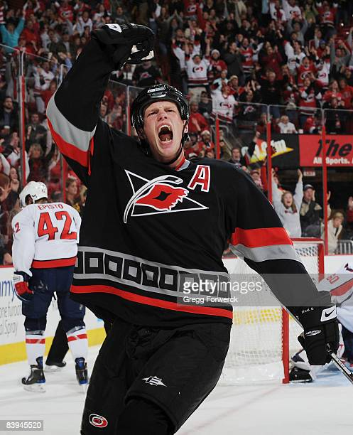 Eric Staal of the Carolina Hurricanes celebrates his game winning goal during a NHL game against the Washington Capitals on December 7, 2008 at RBC...
