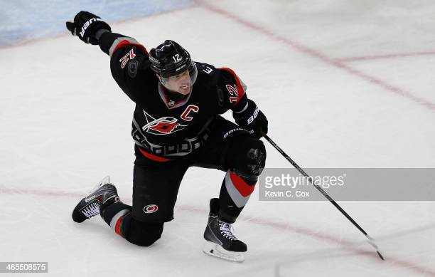 Eric Staal of the Carolina Hurricanes celebrates his game-tying goal against the Columbus Blue Jackets at PNC Arena on January 27, 2014 in Raleigh,...