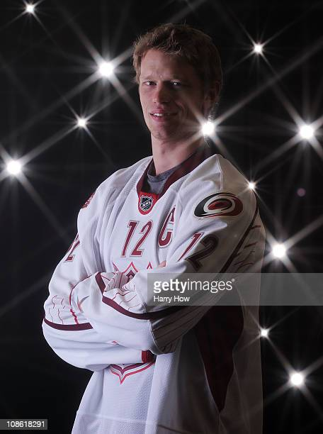 Eric Staal of the Carolina Hurricanes for Team Staal poses for a portrait before the 58th NHL All-Star Game at RBC Center on January 30, 2011 in...