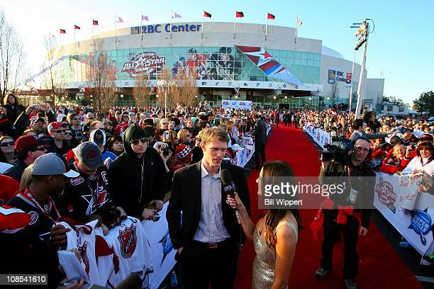 Eric Staal of the Carolina Hurricanes for Team Staal talks with Heidi Androl of the NHL Network at the Red Carpet Arrivals part of the 2011 NHL...