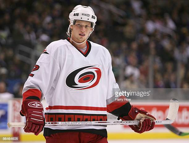 Eric Staal of the Carolina Hurricanes in action against the Los Angeles Kings during the NHL game at the Staples Center on December 8 2005 in Los...