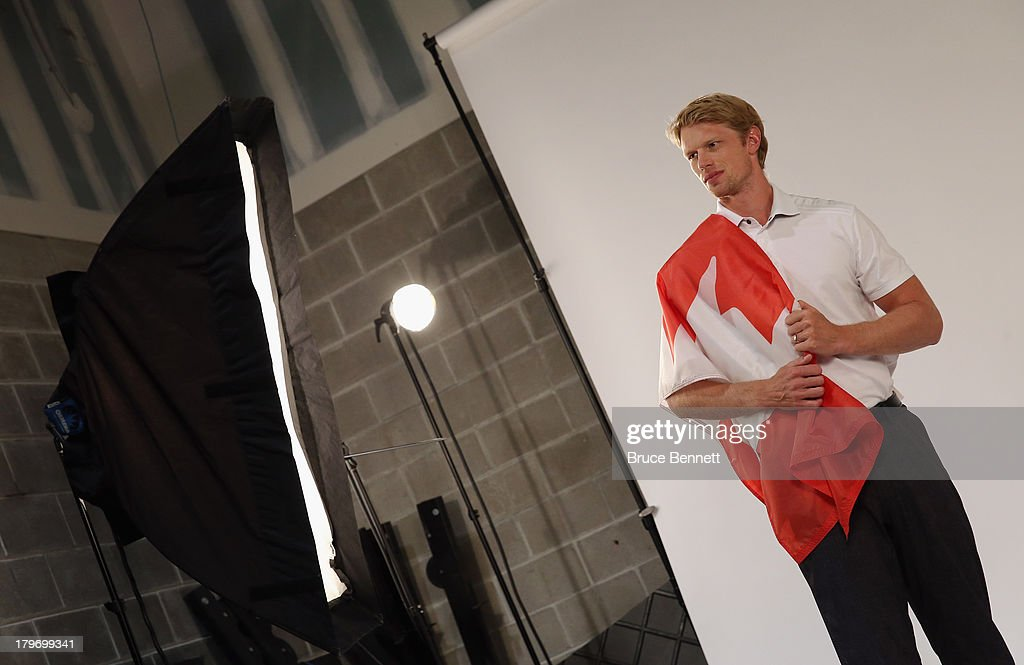 Eric Staal of the Carolina Hurricanes is photographed in a portrait session during the National Hockey League Player Media Tour at the Prudential Center on September 6, 2013 in Newark, New Jersey.