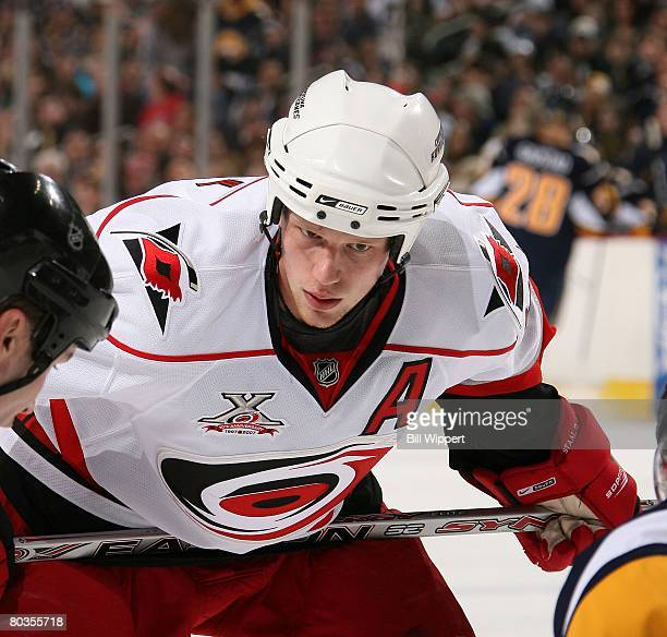 Eric Staal of the Carolina Hurricanes lines up for a faceoff against the Buffalo Sabres on March 14, 2008 at HSBC Arena in Buffalo, New York.
