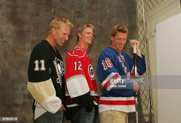 Eric Staal of the Carolina Hurricanes Marc Staal of the New York Rangers and Jordan Staal of the Pittsburgh Penguins share a laugh during an NHLI...
