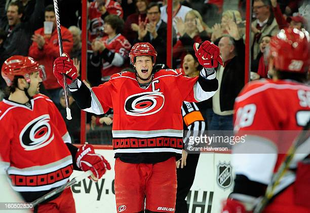 Eric Staal of the Carolina Hurricanes reacts after scoring the game-winning goal against the Ottowa Senators during the first period at PNC Arena in...