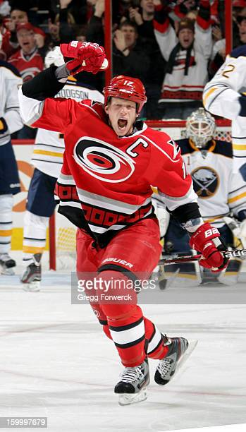Eric Staal of the Carolina Hurricanes reacts to scoring his second goal againts the Buffalo Sabres during their NHL game at PNC Arena on January 24,...