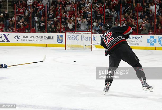 Eric Staal of the Carolina Hurricanes scores an empty net goal during their NHL game against the Toronto Maple Leafs on November 2 2008 at RBC Center...