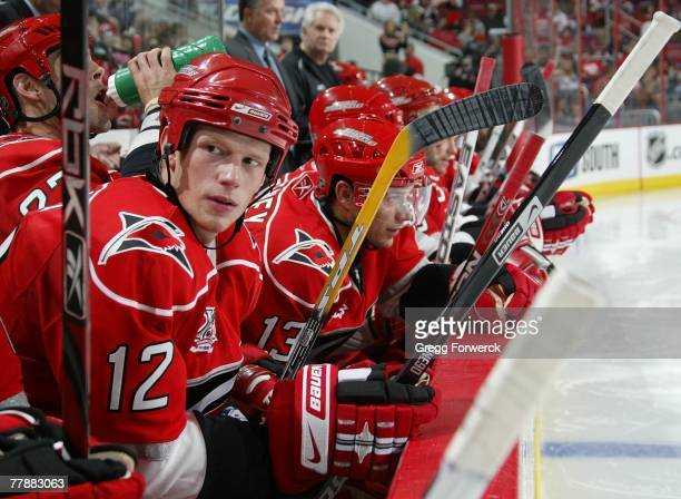 Eric Staal of the Carolina Hurricanes sits in the bench area during a game against the Florida Panthers on November 3 2007 at RBC Center in Raleigh...