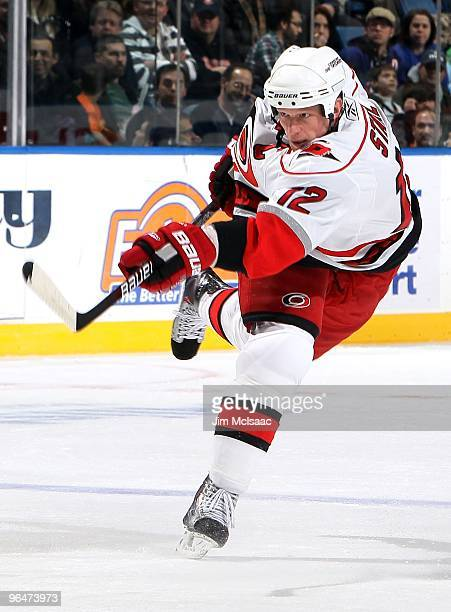 Eric Staal of the Carolina Hurricanes skates against the New York Islanders on February 6, 2010 at Nassau Coliseum in Uniondale, New York.