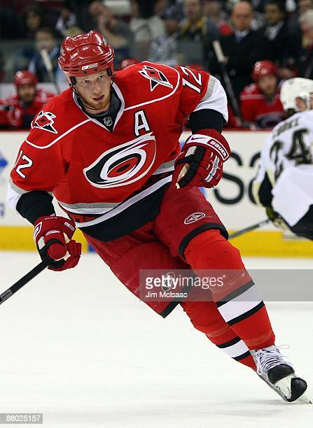 Eric Staal of the Carolina Hurricanes skates against the Pittsburgh Penguins during Game Four of the Eastern Conference Championship Round of the...