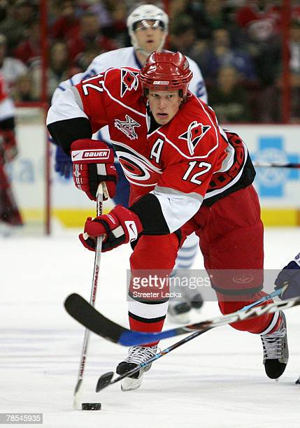 Eric Staal of the Carolina Hurricanes skates down the ice during the game against the Toronto Maple Leafs at the RBC Center on December 18 2007 in...