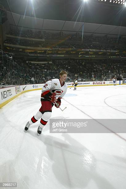 Eric Staal of the Carolina Hurricanes skates during warmups as the East takes on the West in the NHL YoungStars Game on February 7 2004 at the Xcel...
