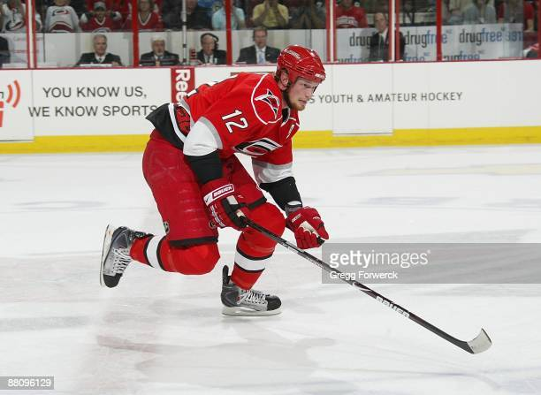 Eric Staal of the Carolina Hurricanes skates for position on the ice during Game Four of the Eastern Conference Championship Round of the 2009...