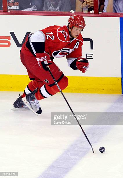 Eric Staal of the Carolina Hurricanes skates up ice with the puck in the third period of Game Six of the Eastern Conference Quarterfinals of the 2009...