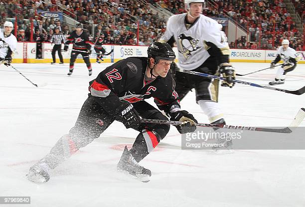 Eric Staal of the Carolina Hurricanes stops hard for position on the ice during a NHL game against the Pittsburgh Penguins on March 11, 2010 at RBC...