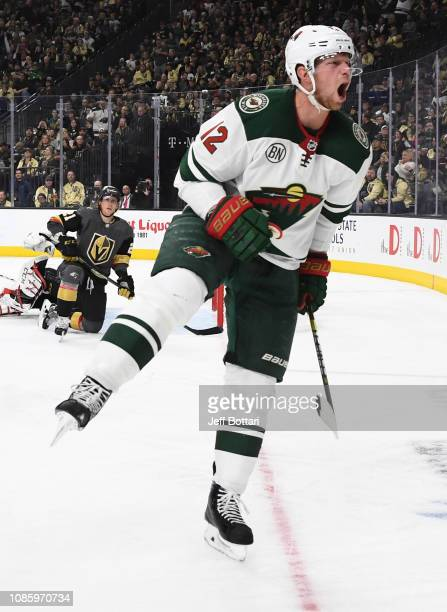 Eric Staal of the Minnesota Wild celebrates after scoring a goal during the second period against the Vegas Golden Knights at T-Mobile Arena on...