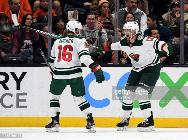 Eric Staal of the Minnesota Wild celebrates his goal with Jason Zucker, to take a 3-2 lead over the Anaheim Ducks, during the third period in a 4-2...