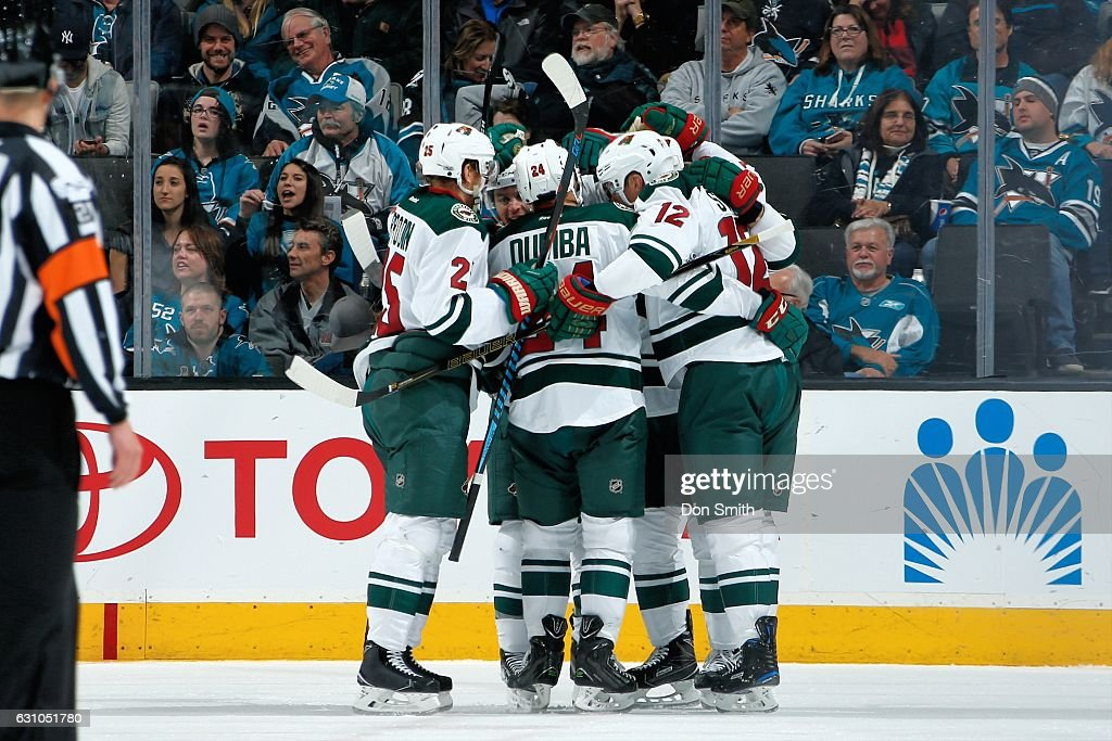 Eric Staal #12 of the Minnesota Wild celebrates his third period goal with teammates during a NHL game against the San Jose Sharks at SAP Center at San Jose on January 5, 2017 in San Jose, California.