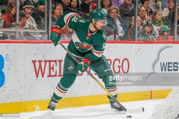 Eric Staal of the Minnesota Wild handles the puck against the Buffalo Sabres during the game at the Xcel Energy Center on January 4 2018 in St Paul...