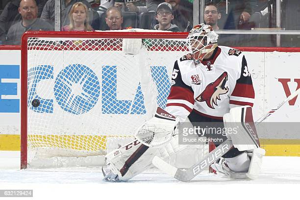 Eric Staal of the Minnesota Wild scores a goal against Louis Domingue of the Arizona Coyotes during the game on January 19 2017 at the Xcel Energy...