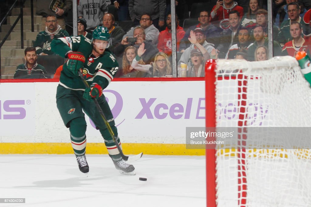 Eric Staal #12 of the Minnesota Wild scores an empty net goal against the Philadelphia Flyers during the game at the Xcel Energy Center on November 14, 2017 in St. Paul, Minnesota.