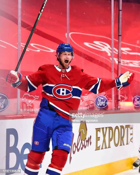 Eric Staal of the Montreal Canadiens celebrates his overtime goal in his debut with the Canadiens against the Edmonton Oilers at the Bell Centre on...
