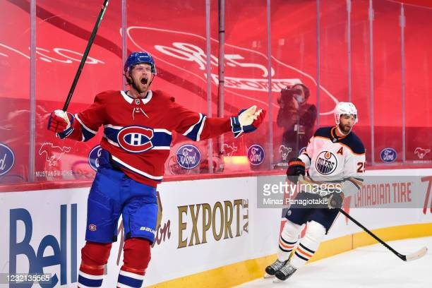 Eric Staal of the Montreal Canadiens celebrates his overtime goal against the Edmonton Oilers at the Bell Centre on April 5, 2021 in Montreal,...